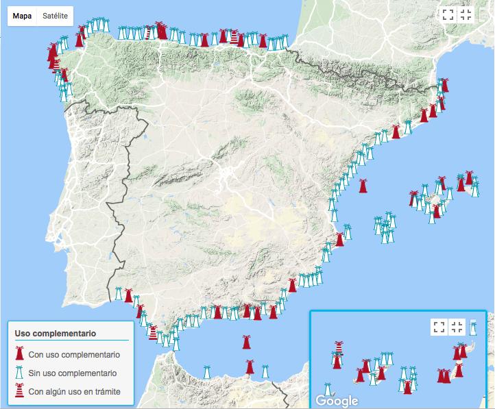 mapa de faros de España