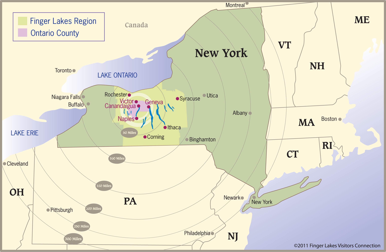 Mapa de Finger Lakes
