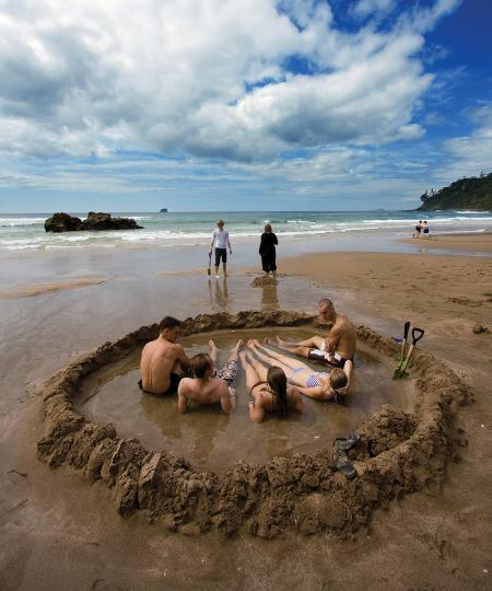 Playa termal Nueva Zelanda