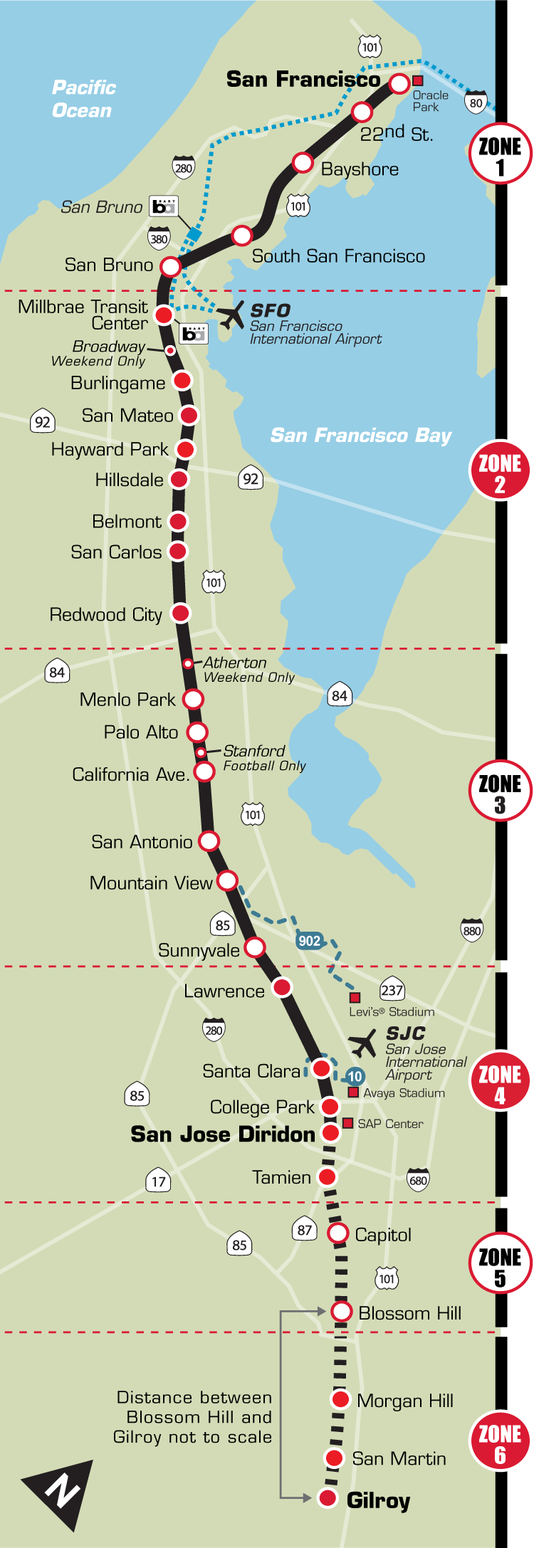 Plano de tren Caltrain