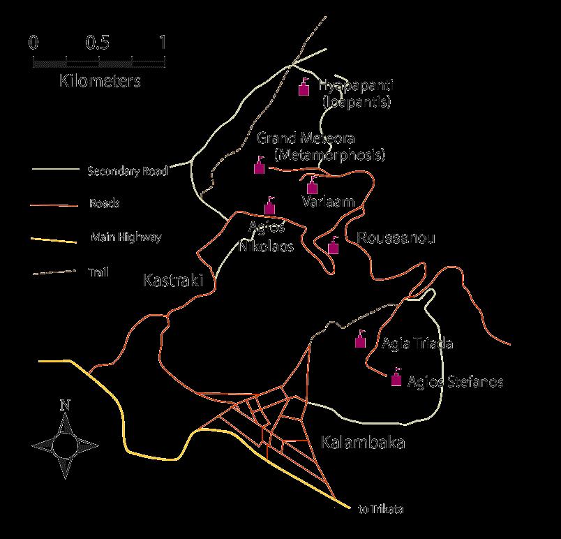 Mapa de los monasterios de Meteora